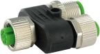 T-COUPLER M12 FEMALE/M12 FEMALE+M12 MALE 0°