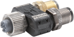 T-coupler slimline M12-female 5p. / 2x M12 male