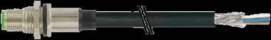 M12 male recept. shielded rear mount