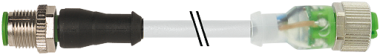 M12 St. ger. auf M12 Bu. ger. mit LED