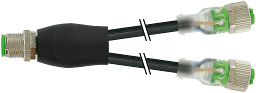 M12 Y-distributor / M12 female 0° LED