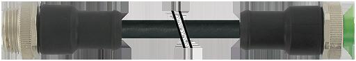Mini (7/8) 5 pole, Male (Ext.) Straight/Female Straight,