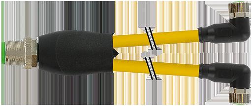 M12 Y-distributor / M8 female 90°