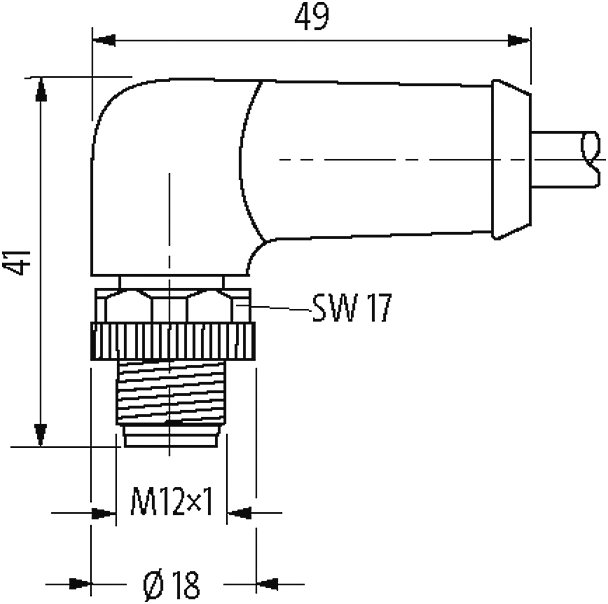 M12 Power L-coded 5pol. male 90° / female 90°